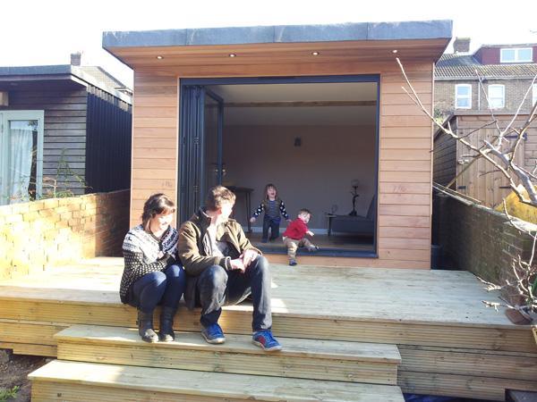 Cedar clad garden office & decking 3