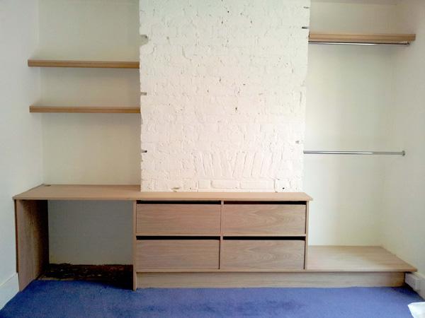 Oak veneer sock drawer & desk