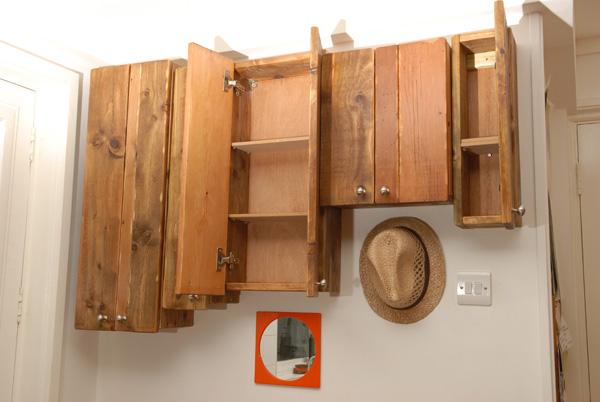 Reclaimed floorboards tea cupboard 2