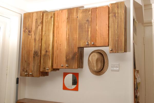 Reclaimed floorboards tea cupboards 1