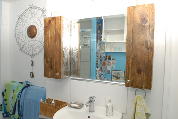Reclaimed wood sink cabinets